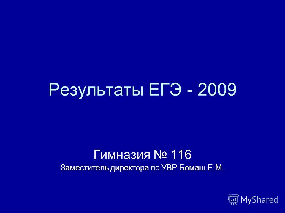 Результаты ЕГЭ - 2009 Гимназия 116 Заместитель директора по УВР Бомаш Е.М.