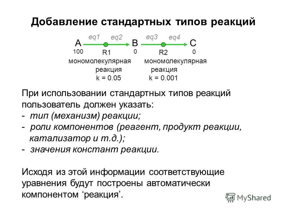 Добавление стандартных типов реакций A B eq1 eq2 R1 мономолекулярная реакция k = 0.05 C eq3 eq4 R2 мономолекулярная реакция k = 0.001 При использовании стандартных типов реакций пользователь должен указать: - тип (механизм) реакции; - роли компоненто