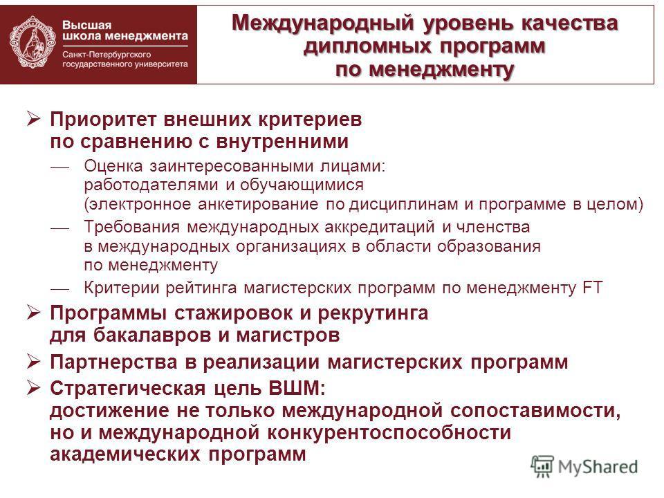 Приоритет внешних критериев по сравнению с внутренними Оценка заинтересованными лицами: работодателями и обучающимися (электронное анкетирование по дисциплинам и программе в целом) Требования международных аккредитаций и членства в международных орга
