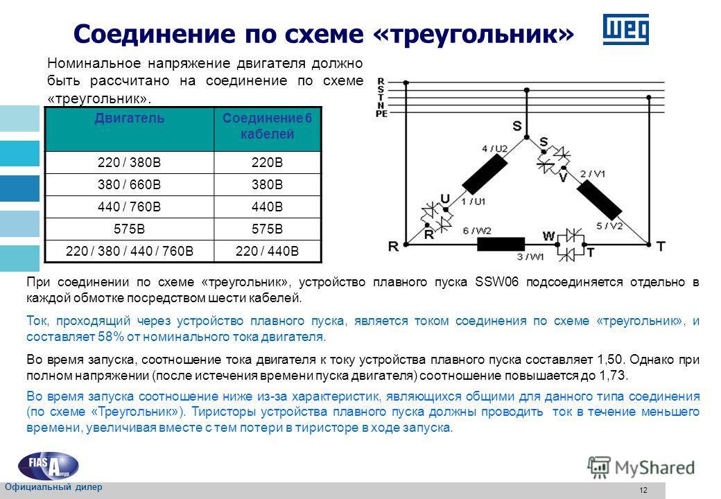 12 ДвигательСоединение 6 кабелей 220 / 380В220В 380 / 660В380В 440 / 760В440В 575В 220 / 380 / 440 / 760В220 / 440В Соединение по схеме «треугольник» Номинальное напряжение двигателя должно быть рассчитано на соединение по схеме «треугольник». При со