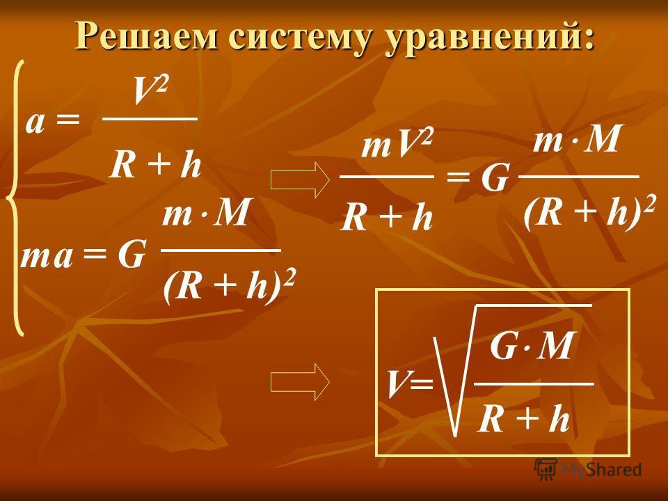 Решаем систему уравнений: a = V 2 R + h ma = G m М (R + h) 2 mV 2 R + h m М (R + h) 2 = G G М R + h V=