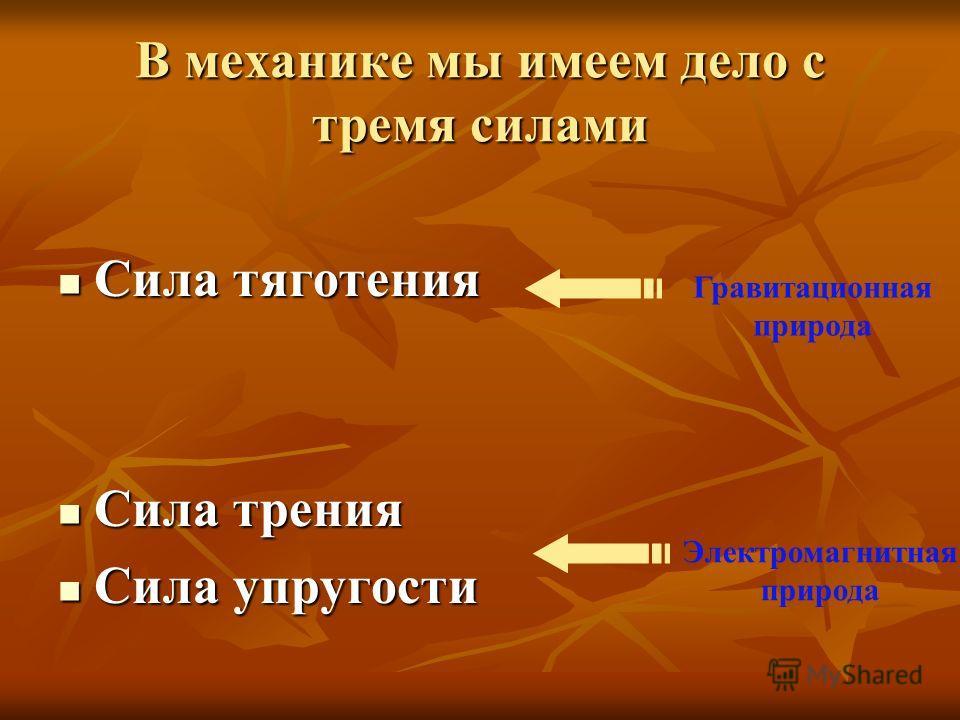 В механике мы имеем дело с тремя силами Сила тяготения Сила тяготения Сила трения Сила трения Сила упругости Сила упругости Гравитационная природа Электромагнитная природа