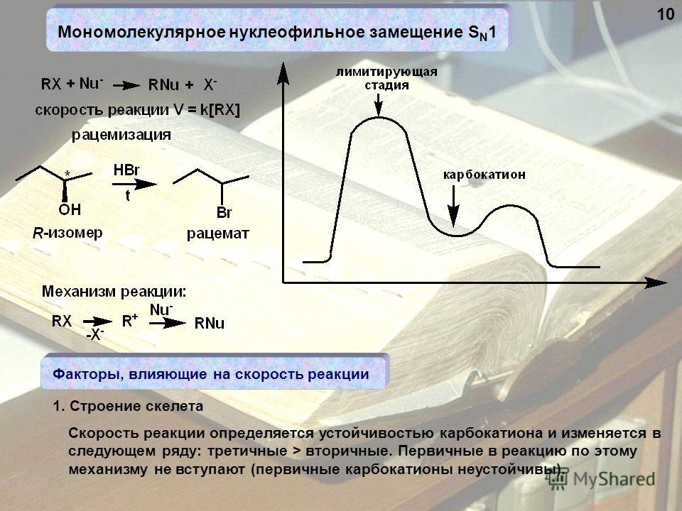 Мономолекулярное нуклеофильное замещение S N 1 Факторы, влияющие на скорость реакции Скорость реакции определяется устойчивостью карбокатиона и изменяется в следующем ряду: третичные > вторичные. Первичные в реакцию по этому механизму не вступают (пе