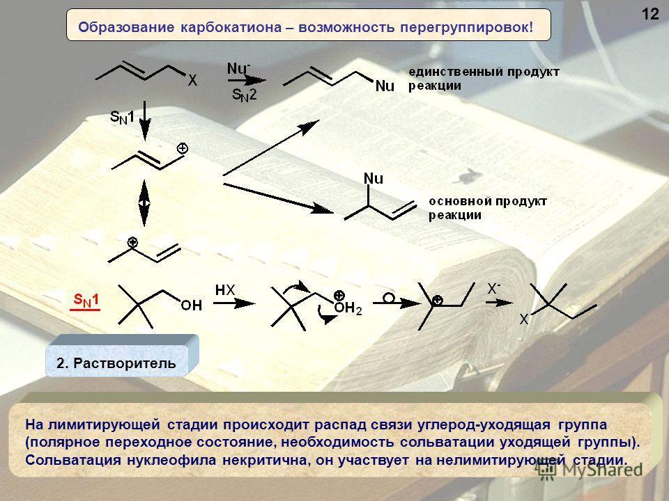 Образование карбокатиона – возможность перегруппировок! 2. Растворитель На лимитирующей стадии происходит распад связи углерод-уходящая группа (полярное переходное состояние, необходимость сольватации уходящей группы). Сольватация нуклеофила некритич