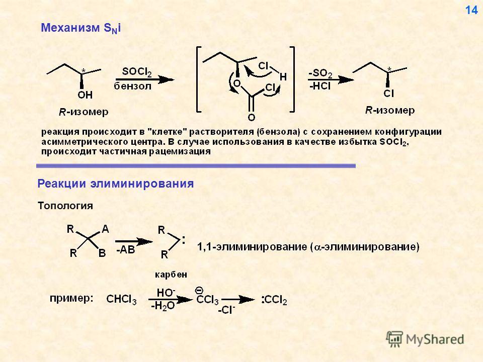 Механизм S N i Топология Реакции элиминирования 14