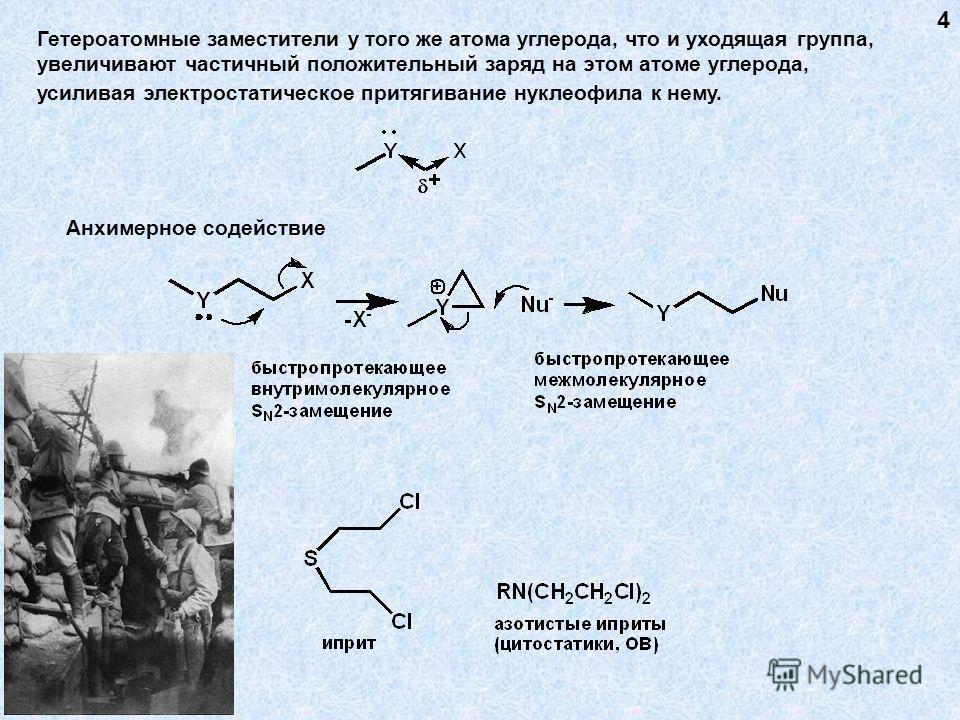 Гетероатомные заместители у того же атома углерода, что и уходящая группа, увеличивают частичный положительный заряд на этом атоме углерода, усиливая электростатическое притягивание нуклеофила к нему. 4 Анхимерное содействие