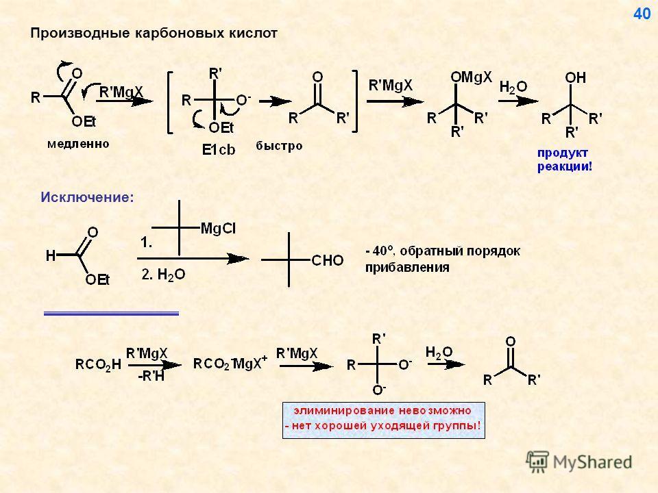 40 Производные карбоновых кислот Исключение: