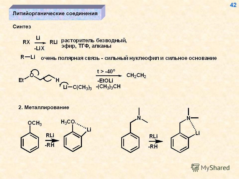 Литийорганические соединения Синтез 42 2. Металлирование