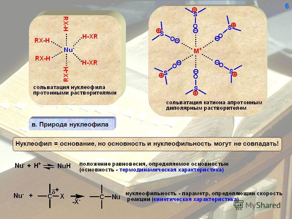 в. Природа нуклеофила Нуклеофил = основание, но основность и нуклеофильность могут не совпадать! 6