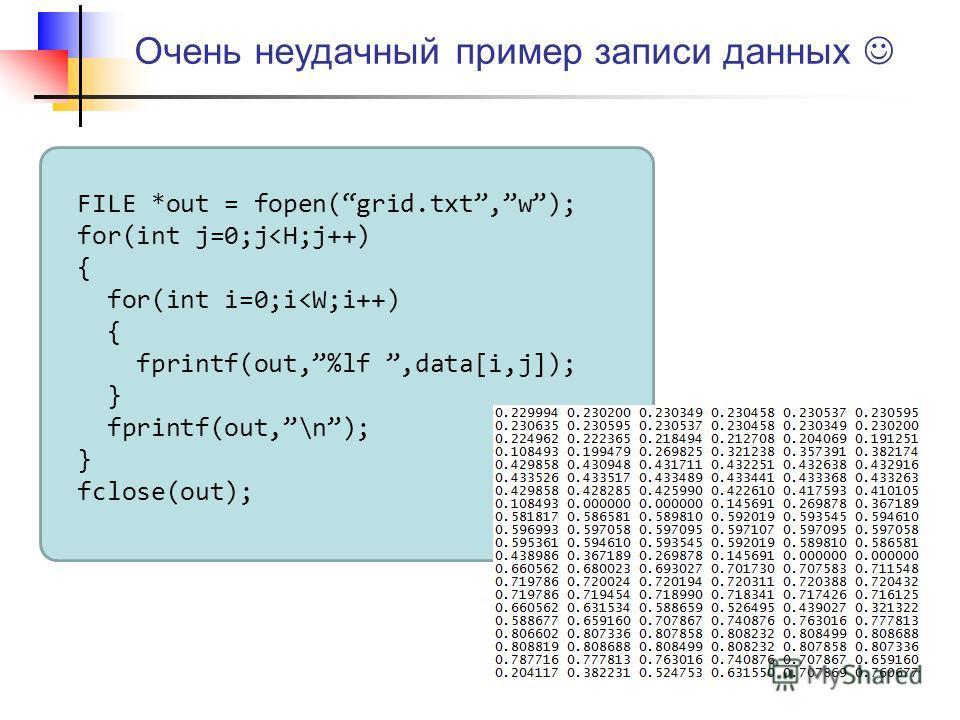 Очень неудачный пример записи данных FILE *out = fopen(grid.txt,w); for(int j=0;j