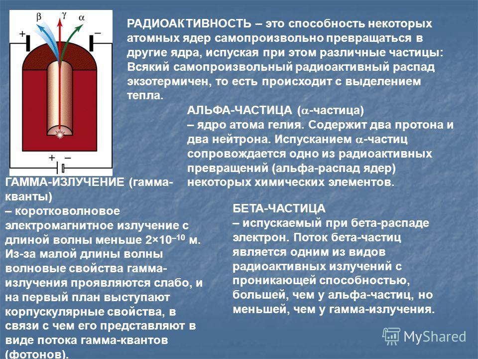 РАДИОАКТИВНОСТЬ – это способность некоторых атомных ядер самопроизвольно превращаться в другие ядра, испуская при этом различные частицы: Всякий самопроизвольный радиоактивный распад экзотермичен, то есть происходит с выделением тепла. АЛЬФА-ЧАСТИЦА
