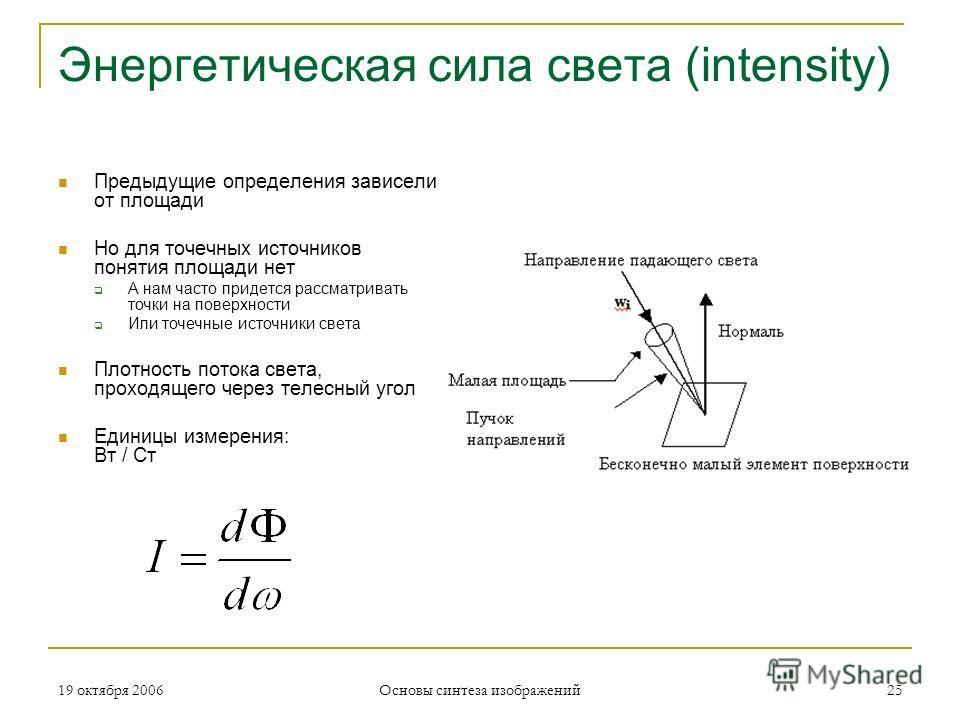 19 октября 2006 Основы синтеза изображений 25 Энергетическая сила света (intensity) Предыдущие определения зависели от площади Но для точечных источников понятия площади нет А нам часто придется рассматривать точки на поверхности Или точечные источни