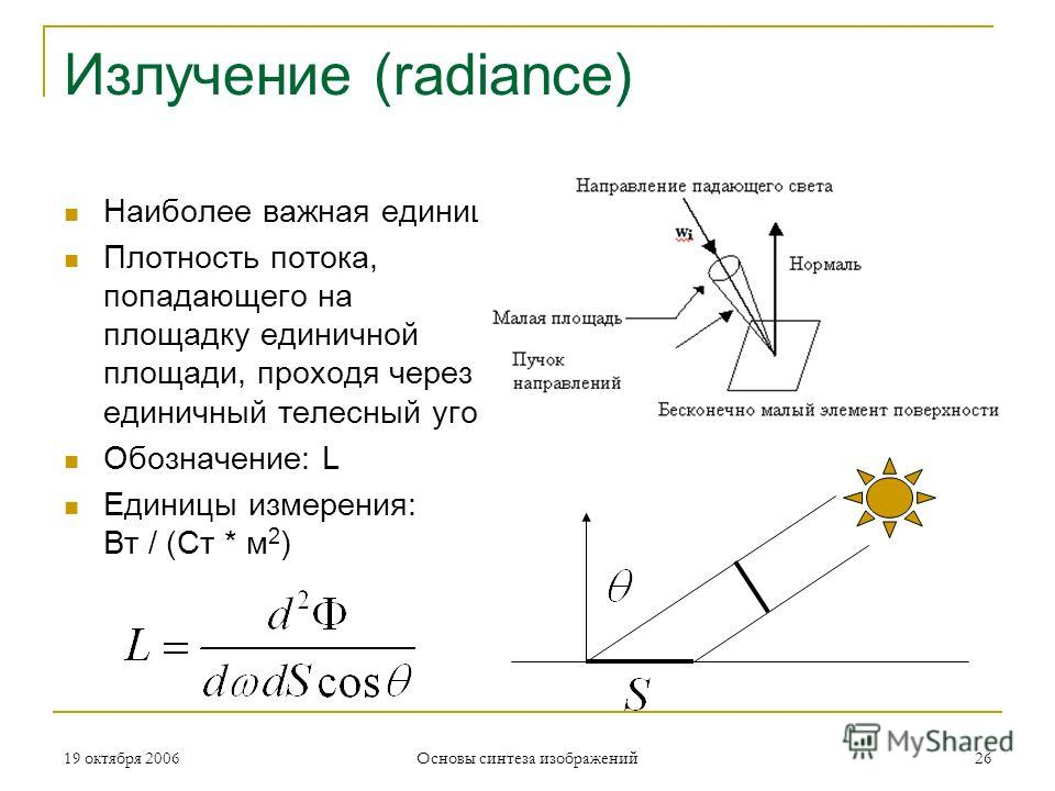 19 октября 2006 Основы синтеза изображений 26 Излучение (radiance) Наиболее важная единица Плотность потока, попадающего на площадку единичной площади, проходя через единичный телесный угол Обозначение: L Единицы измерения: Вт / (Ст * м 2 )