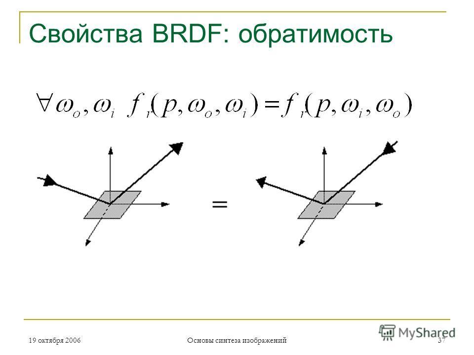 19 октября 2006 Основы синтеза изображений 37 Свойства BRDF: обратимость