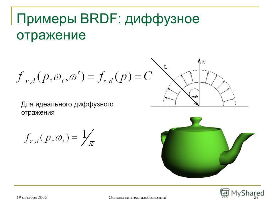 19 октября 2006 Основы синтеза изображений 39 Примеры BRDF: диффузное отражение Для идеального диффузного отражения