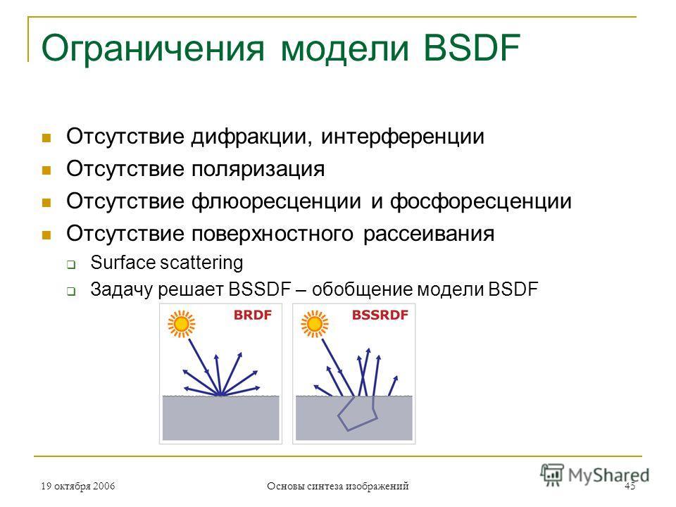 19 октября 2006 Основы синтеза изображений 45 Ограничения модели BSDF Отсутствие дифракции, интерференции Отсутствие поляризация Отсутствие флюоресценции и фосфоресценции Отсутствие поверхностного рассеивания Surface scattering Задачу решает BSSDF –