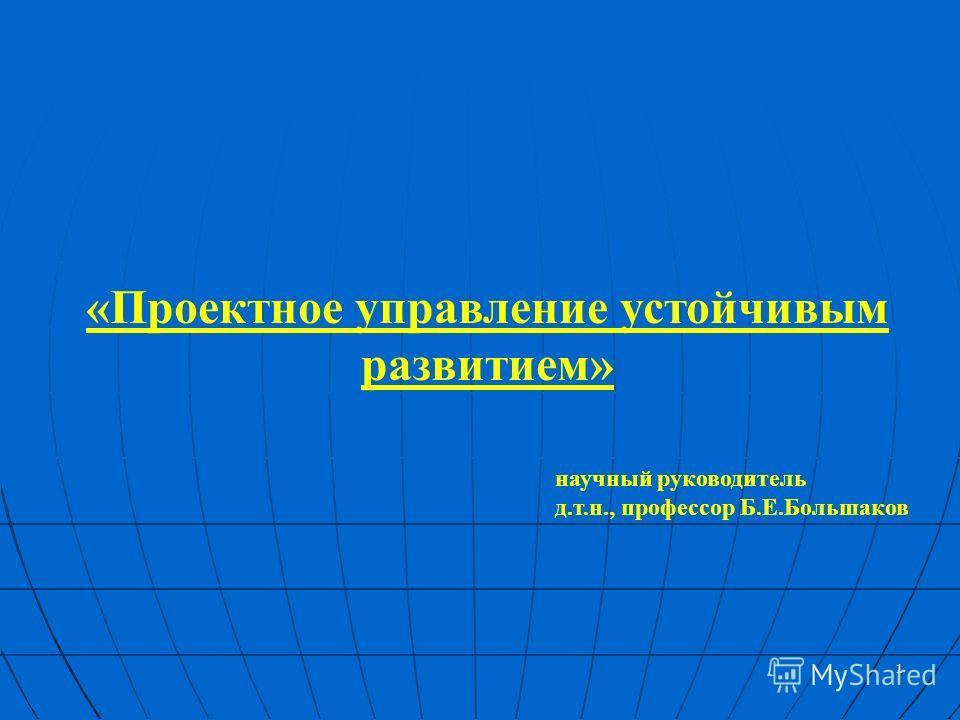 1 «Проектное управление устойчивым развитием» научный руководитель д.т.н., профессор Б.Е.Большаков