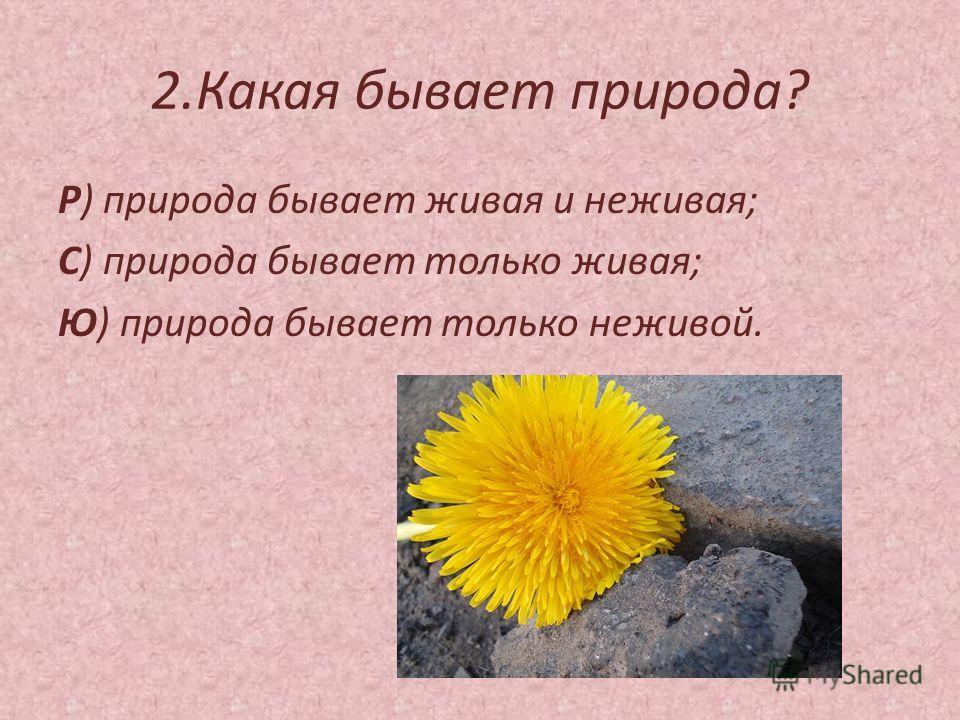 2.Какая бывает природа? Р) природа бывает живая и неживая; С) природа бывает только живая; Ю) природа бывает только неживой.