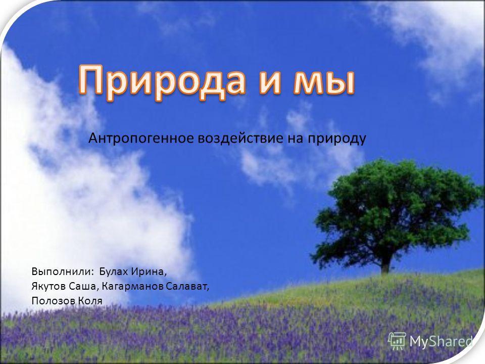 Выполнили: Булах Ирина, Якутов Саша, Кагарманов Салават, Полозов Коля Антропогенное воздействие на природу