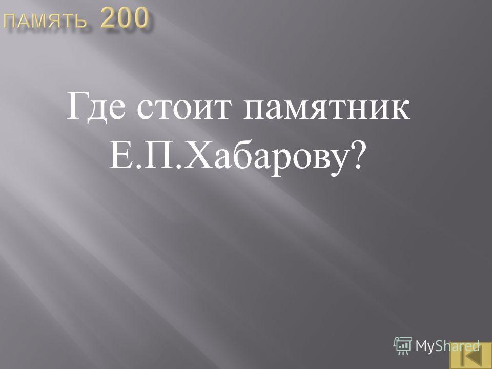 Где стоит памятник Е. П. Хабарову ?
