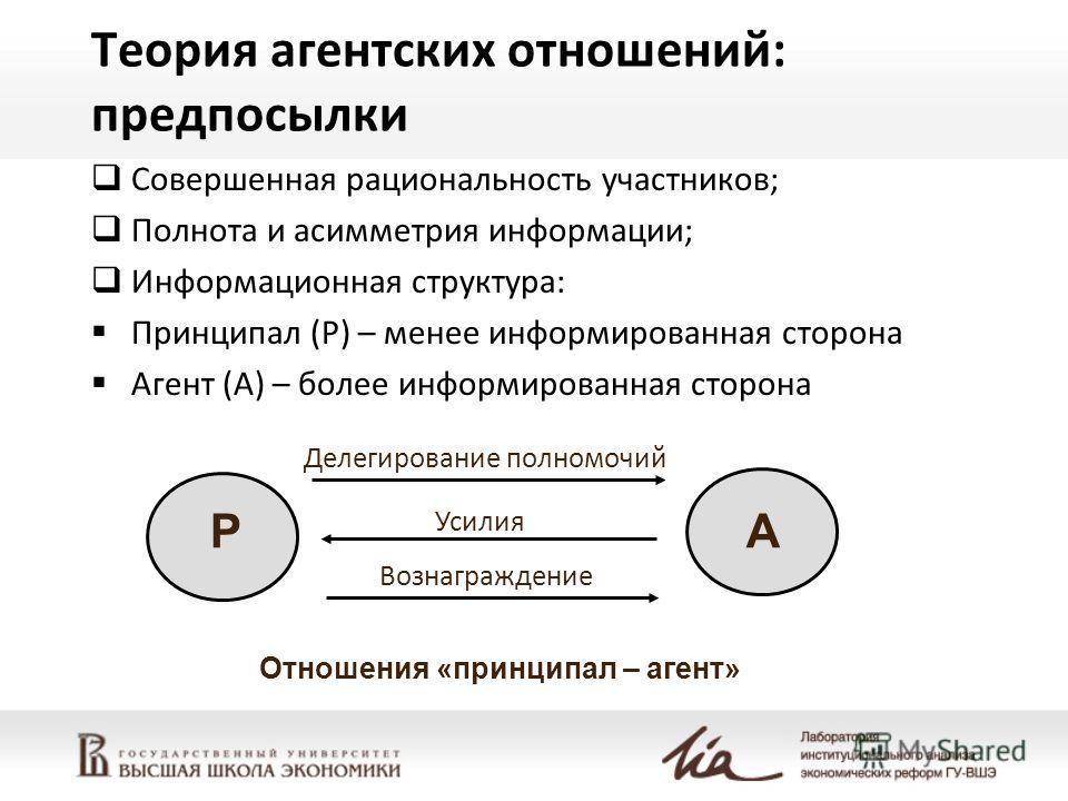 Теория агентских отношений: предпосылки Совершенная рациональность участников; Полнота и асимметрия информации; Информационная структура: Принципал (P) – менее информированная сторона Агент (А) – более информированная сторона Вознаграждение Делегиров