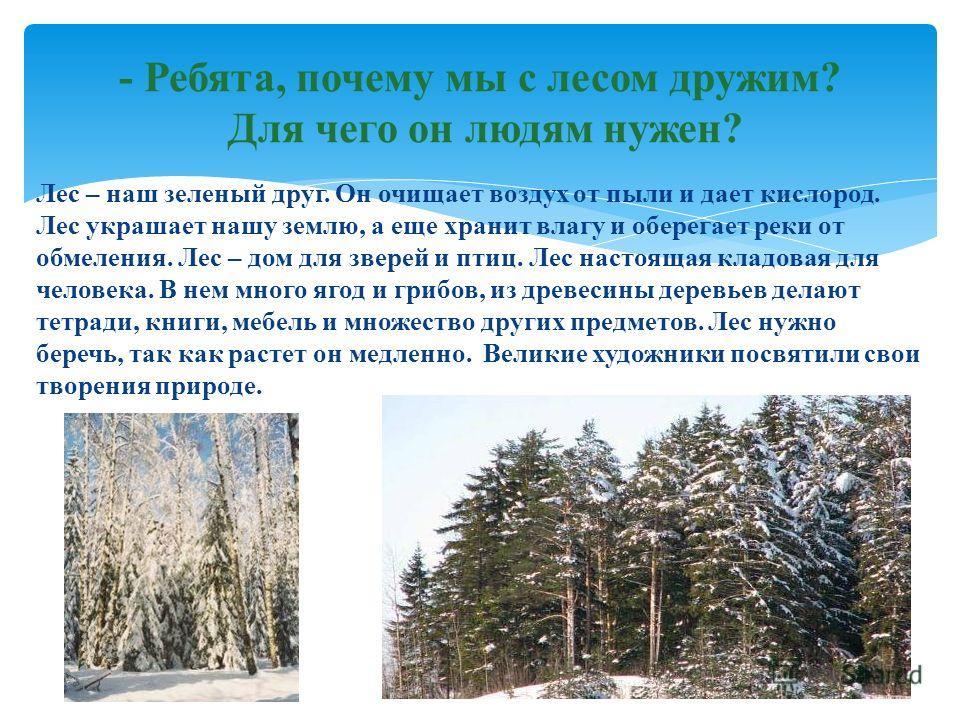 Лес – наш зеленый друг. Он очищает воздух от пыли и дает кислород. Лес украшает нашу землю, а еще хранит влагу и оберегает реки от обмеления. Лес – дом для зверей и птиц. Лес настоящая кладовая для человека. В нем много ягод и грибов, из древесины де