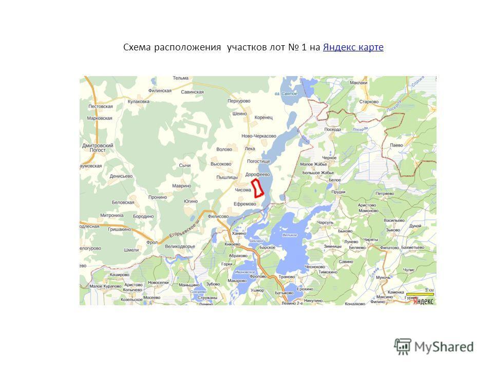 Схема расположения участков лот 1 на Яндекс картеЯндекс карте