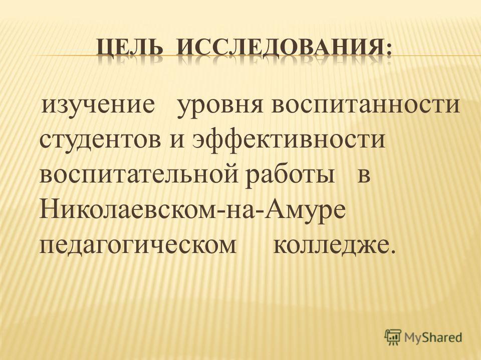 изучение уровня воспитанности студентов и эффективности воспитательной работы в Николаевском-на-Амуре педагогическом колледже.