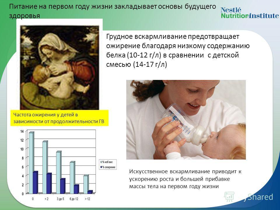 Грудное вскармливание предотвращает ожирение благодаря низкому содержанию белка (10-12 г/л) в сравнении с детской смесью (14-17 г/л) Частота ожирения у детей в зависимости от продолжительности ГВ Искусственное вскармливание приводит к ускорению роста