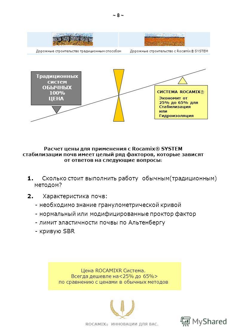 Дорожные строительство традиционным способомДорожные строительство с Rocamix® SYSTEM Традиционных систем ОБЫЧНЫХ 100% ЦЕНА СИСТЕМА ROCAMIX® Экономит от 25% до 65% для Стабилизация или Гидроизоляция Расчет цены для применения с Rocamix® SYSTEM стабили