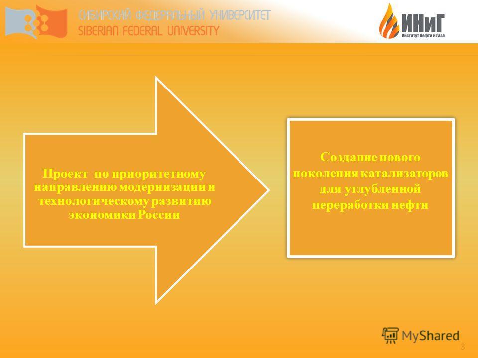 3 Проект по приоритетному направлению модернизации и технологическому развитию экономики России Создание нового поколения катализаторов для углубленной переработки нефти