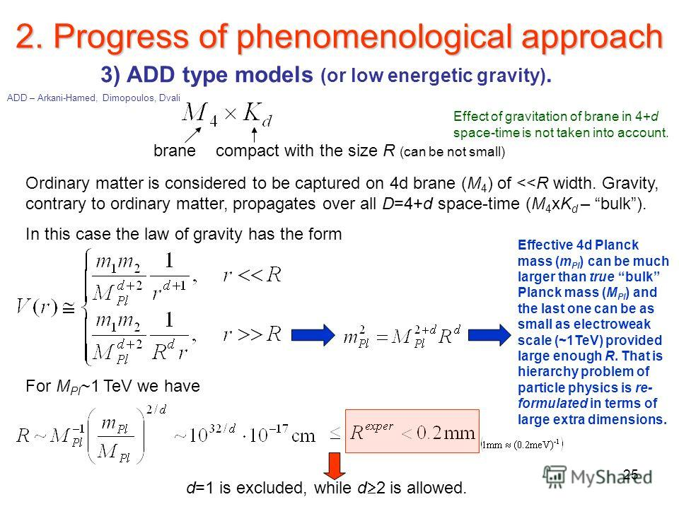 25 2. Progress of phenomenological approach 3) ADD type models (or low energetic gravity). Ordinary matter is considered to be captured on 4d brane (M 4 ) of
