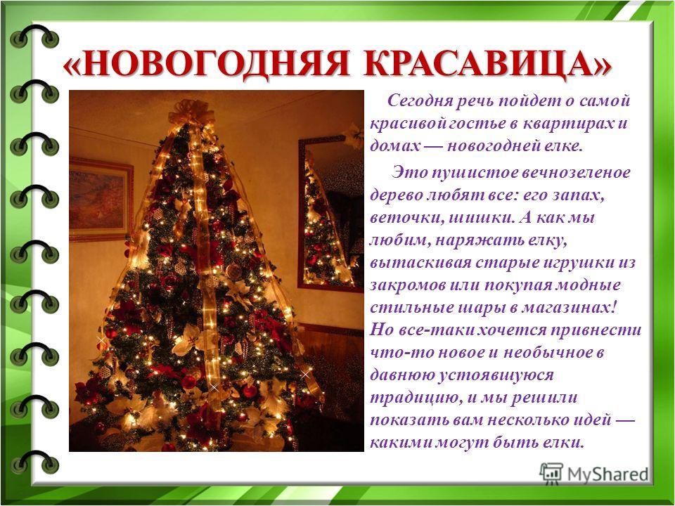 «НОВОГОДНЯЯ КРАСАВИЦА» Сегодня речь пойдет о самой красивой гостье в квартирах и домах новогодней елке. Это пушистое вечнозеленое дерево любят все: его запах, веточки, шишки. А как мы любим, наряжать елку, вытаскивая старые игрушки из закромов или по