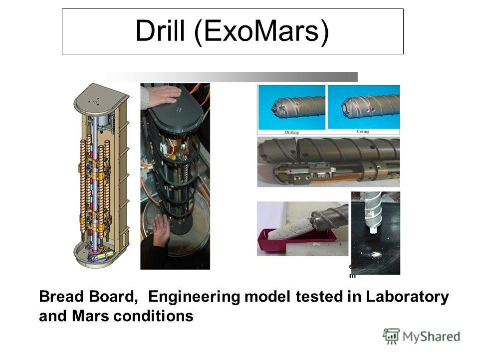 Drill (ExoMars) Bread Board, Engineering model tested in Laboratory and Mars conditions