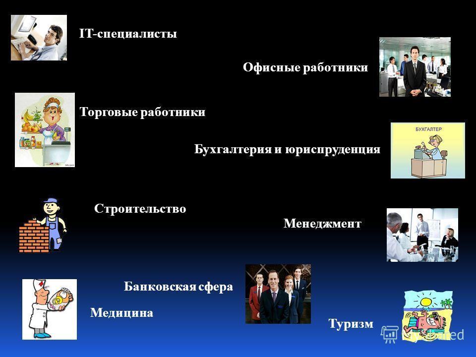IT-специалисты Офисные работники Торговые работники Бухгалтерия и юриспруденция Строительство Менеджмент Медицина Банковская сфера Туризм
