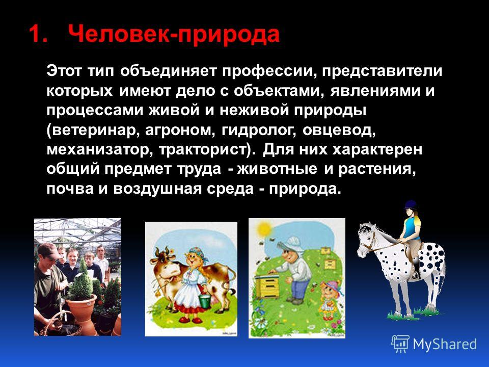 1.Человек-природа Этот тип объединяет профессии, представители которых имеют дело с объектами, явлениями и процессами живой и неживой природы (ветеринар, агроном, гидролог, овцевод, механизатор, тракторист). Для них характерен общий предмет труда - ж