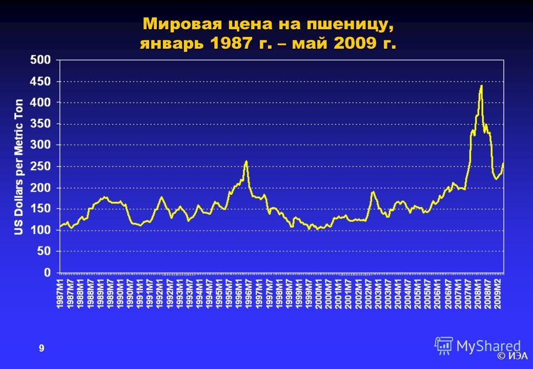 © ИЭА 9 Мировая цена на пшеницу, январь 1987 г. – май 2009 г.
