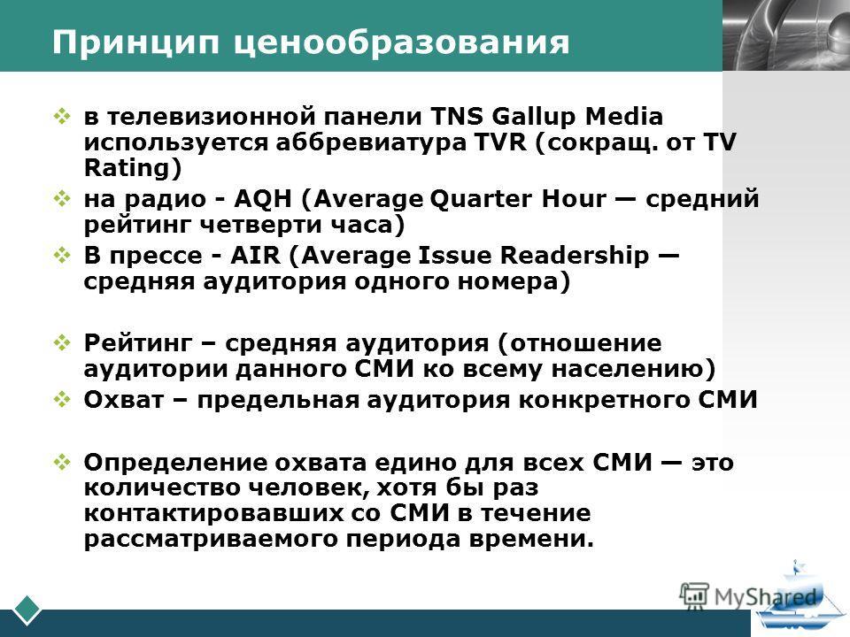 LOGO Принцип ценообразования в телевизионной панели TNS Gallup Media используется аббревиатура TVR (сокращ. от TV Rating) на радио - AQH (Average Quarter Hour средний рейтинг четверти часа) В прессе - AIR (Average Issue Readership средняя аудитория о