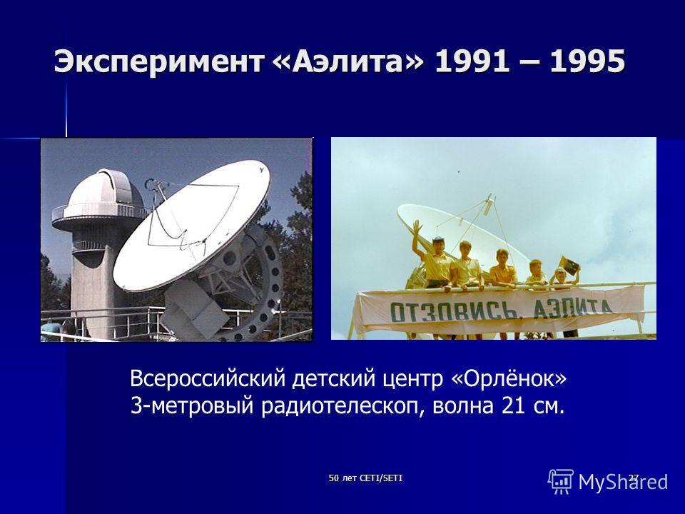 50 лет CETI/SETI27 Эксперимент «Аэлита» 1991 – 1995 Всероссийский детский центр «Орлёнок» 3-метровый радиотелескоп, волна 21 см.