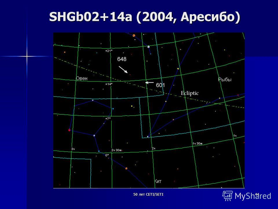 50 лет CETI/SETI44 SHGb02+14a (2004, Аресибо)