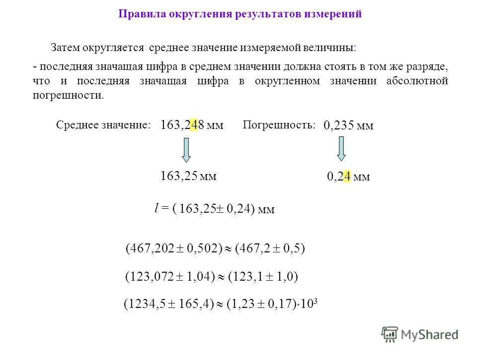 Затем округляется среднее значение измеряемой величины: - последняя значащая цифра в среднем значении должна стоять в том же разряде, что и последняя значащая цифра в округленном значении абсолютной погрешности. (123,072 1,04) (123,1 1,0) Правила окр