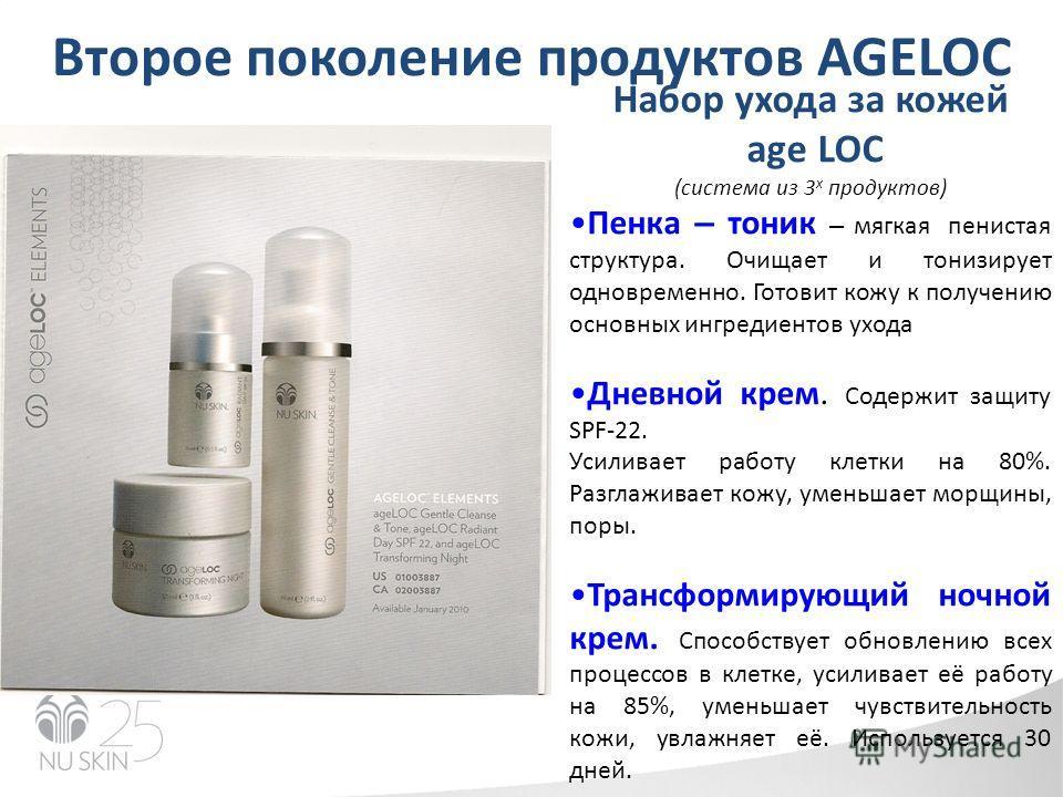 Второе поколение продуктов AGELOC Набор ухода за кожей age LOC (система из 3 х продуктов) Пенка – тоник – мягкая пенистая структура. Очищает и тонизирует одновременно. Готовит кожу к получению основных ингредиентов ухода Дневной крем. Содержит защиту