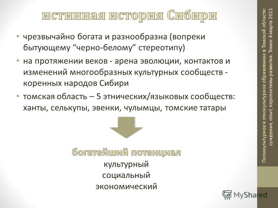 чрезвычайно богата и разнообразна (вопреки бытующему черно-белому стереотипу) на протяжении веков - аренa эволюции, контактов и изменений многообразных культурных сообществ - коренных народoв Сибири томскaя область – 5 этническиx/языковыx сообществ: