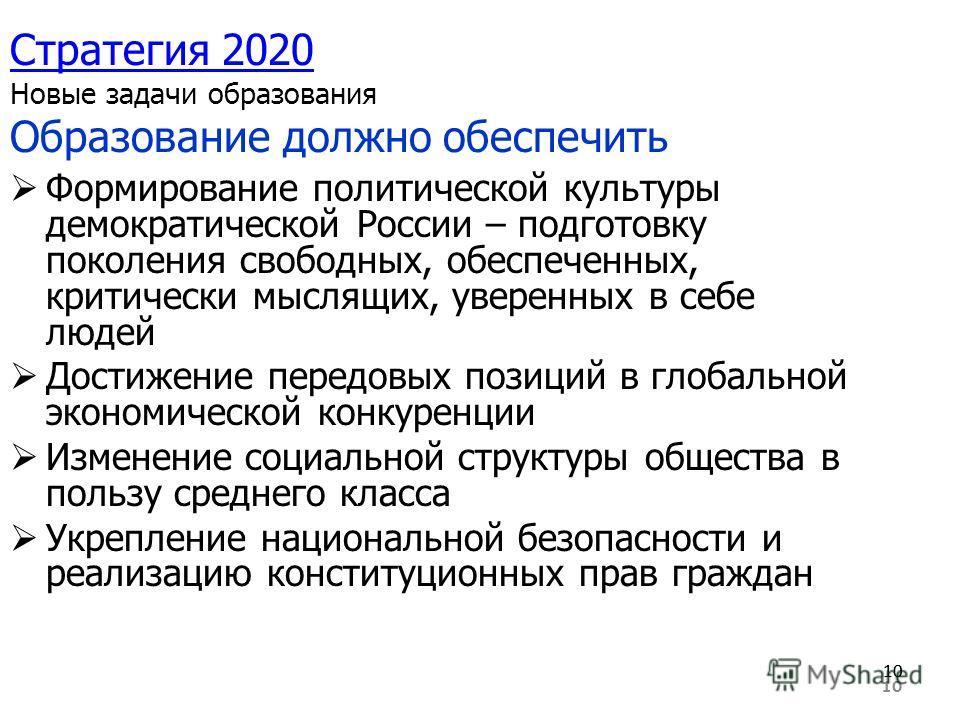 10 Стратегия 2020 Стратегия 2020 Новые задачи образования Образование должно обеспечить Формирование политической культуры демократической России – подготовку поколения свободных, обеспеченных, критически мыслящих, уверенных в себе людей Достижение п