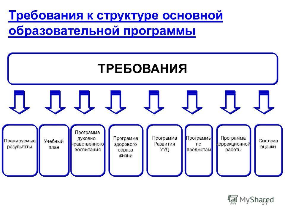37 Требования к структуре основной образовательной программы ТРЕБОВАНИЯ ПланируемыерезультатыПрограммаздоровогообразажизниУчебныйпланПрограммаРазвитияУУДПрограммадуховно-нравственноговоспитанияПрограммыпопредметамПрограммакоррекционнойработыСистемаоц