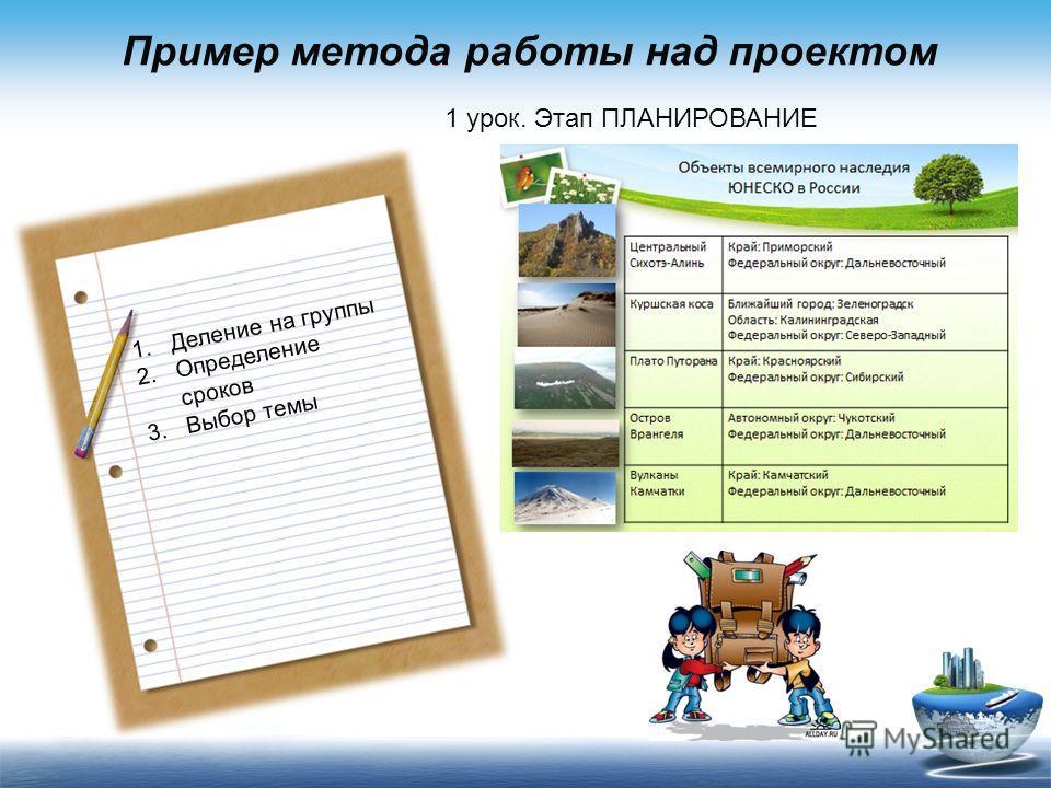 Пример метода работы над проектом 1 урок. Этап ПЛАНИРОВАНИЕ 1.Деление на группы 2.Определение сроков 3.Выбор темы