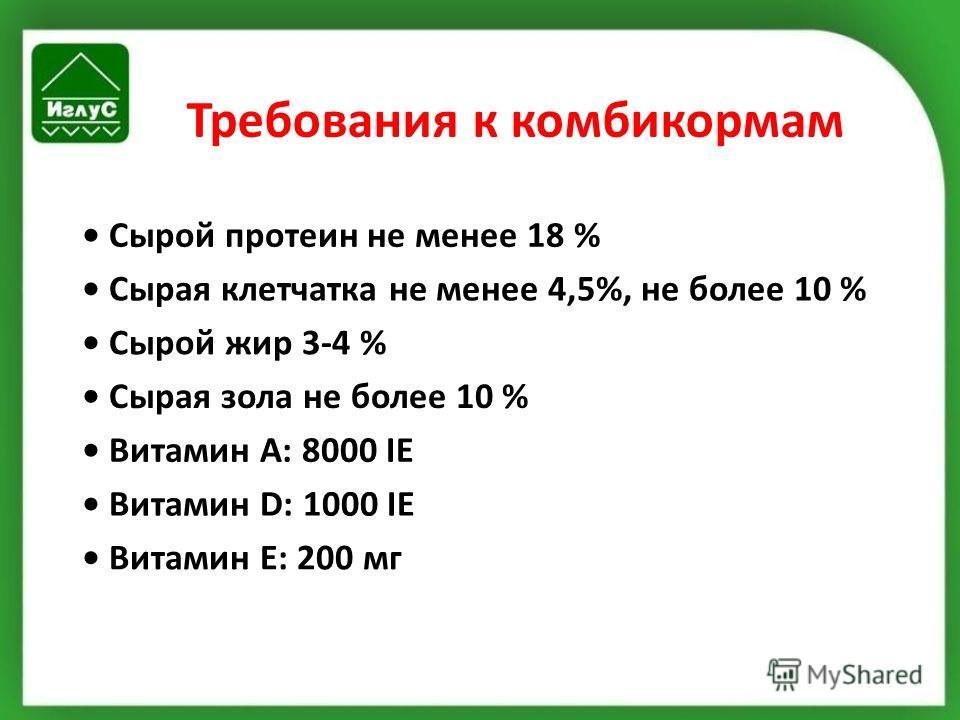 Требования к комбикормам Сырой протеин не менее 18 % Сырая клетчатка не менее 4,5%, не более 10 % Сырой жир 3-4 % Сырая зола не более 10 % Витамин A: 8000 IE Витамин D: 1000 IE Витамин E: 200 мг
