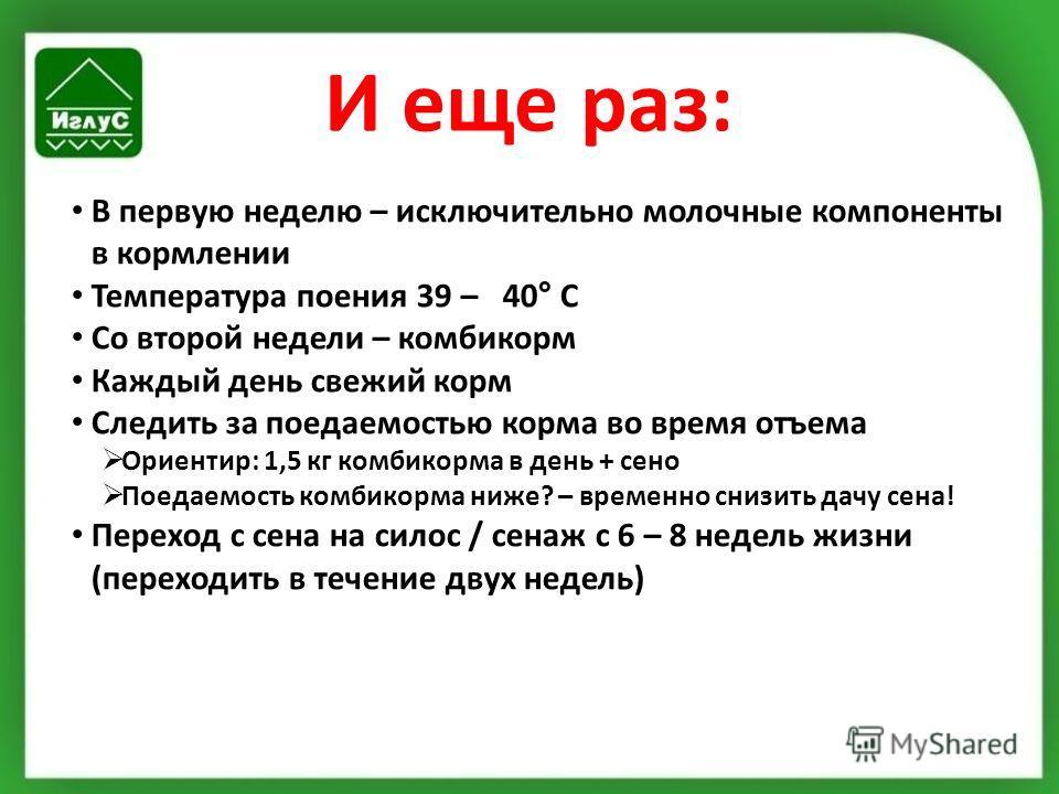 И еще раз: В первую неделю – исключительно молочные компоненты в кормлении Температура поения 39 – 40° С Со второй недели – комбикорм Каждый день свежий корм Следить за поедаемостью корма во время отъема Ориентир: 1,5 кг комбикорма в день + сено Поед