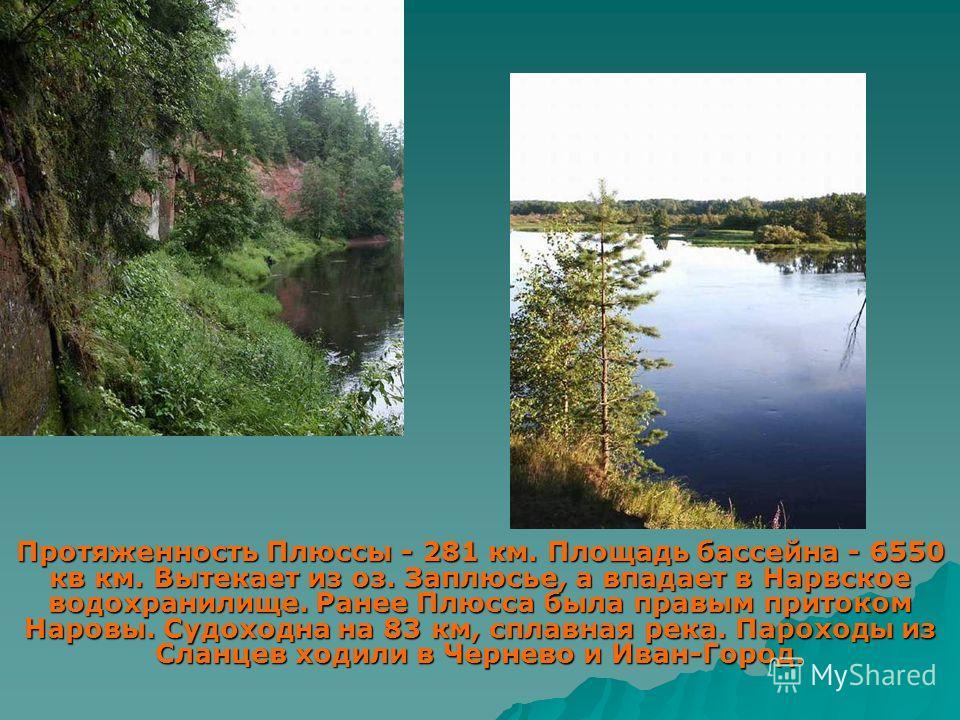 Протяженность Плюссы - 281 км. Площадь бассейна - 6550 кв км. Вытекает из оз. Заплюсье, а впадает в Нарвское водохранилище. Ранее Плюсса была правым притоком Наровы. Судоходна на 83 км, сплавная река. Пароходы из Сланцев ходили в Чернево и Иван-Город