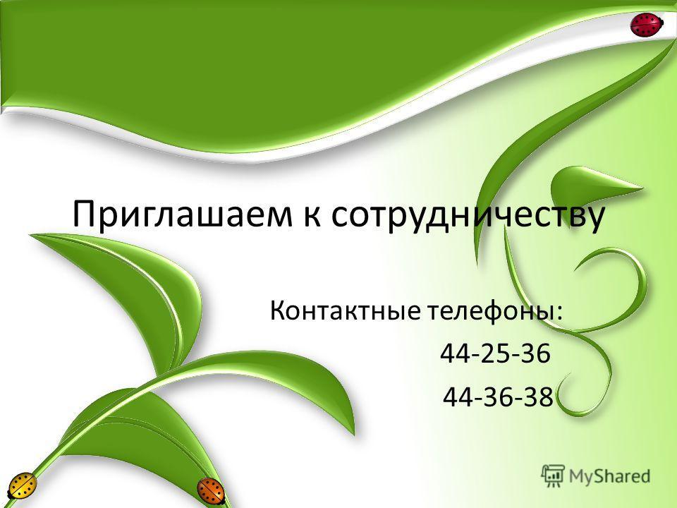 Приглашаем к сотрудничеству Контактные телефоны: 44-25-36 44-36-38